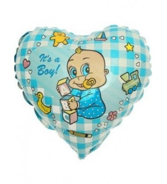 """Шар фольга Сердце 9"""" Младенец мальчик ФМ"""