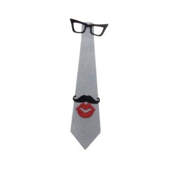 """Карнавальный галстук """"Очки, усы, губы"""", цвет серебро"""