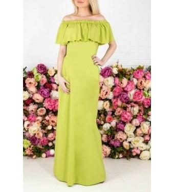 Платье длинное с разрезом сбоку 5171 горчичное