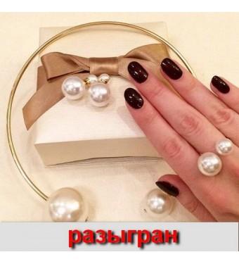 яКомплект кольцо+серьги в стиле Dior белый жемчуг
