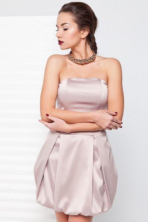 Купить атласное бежевое платье недорого