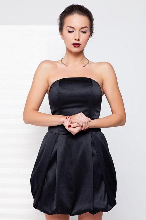 Купить атласное чёрное платье недорого