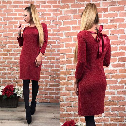 купить тёплое бордовое платье