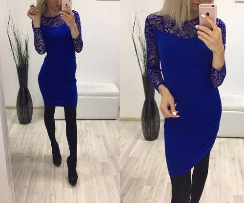 Купить синее платье с кружевом